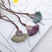 Vintage fabric tassel long sweater chain ethnic pendant power necklace choker for women jewelry gift wholesale price sales item(China)