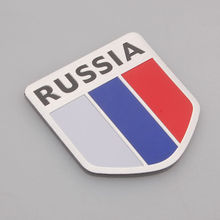 BBQ@FUKA Aluminium Car-Styling Russia Russian Federation Flag Badge Emblem Sticker Universal Fit For VW Hyundai BMW Jeep ect