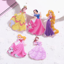 20pcs print princess charms with hole flat back resin charms necklace pendant keychain charms for DIY decoration(China)