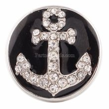10pcs/lot 20MM Anchor snap Silver Plated with clear rhinestones and Enamel snaps jewelry KC6112
