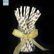 Party Supplies 25pcs/lot Golden Striped Paper Drinking Straws Wedding Birthday Decoration Christmas