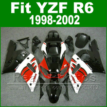 Free Custom Plastic parts for YAMAHA R6 fairing kits 1998 1999 2000 2001 2002  black  red  YZF R6 fairings98 -02 bodywork