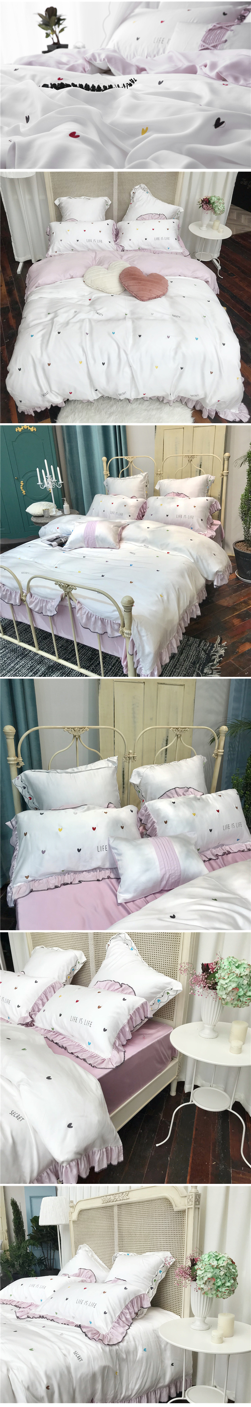 2018 comforter bedding sets 60s tencel coon coon bed sheets small fresh embroidery wedding bed cover housse de couee 5