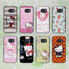 cute Hello kitty design hard black phone Case Cover for samsung galaxy s8 s8 plus s7 s6 edge j3 j5 2016 j7 2016(China)