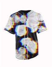 Real American Size blurred roses 3D Sublimation Print Custom made Button up baseball jersey plus size