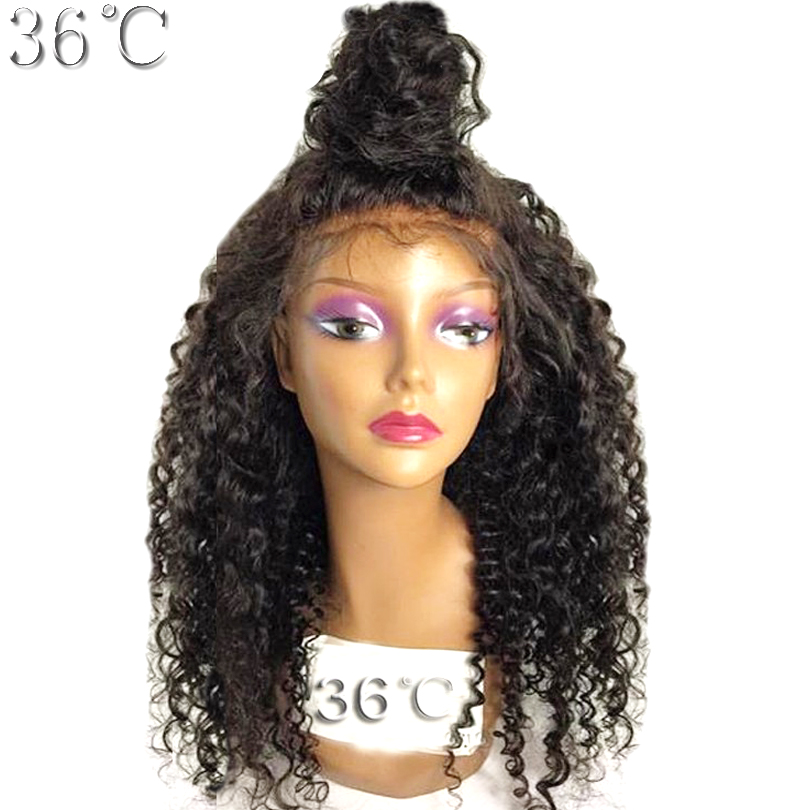36C Lace Front Human Hair Wig Brazilian 150% Density Kinky Curly Wig With Side Part bleached knots For Black Women Non Remy