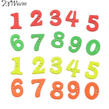 100pcs/lot Cute 0-9 Number Digital Wooden Buttons Children Decorative Button Green Yellow Orange Red DIY Craft Accessories