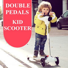 3-16 ages 2 pedals double pedals kids scooter with 4 light up wheels baby 4 Wheel Scooter