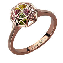 Personalized Cage Ring with Birthstones Rose Gold Color  Family Ring for Mother Birthstone Name Ring