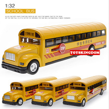 Funny 1:32 scale simulation diecast School bus with light & sound pull back alloy toys open door metal model for children(China)