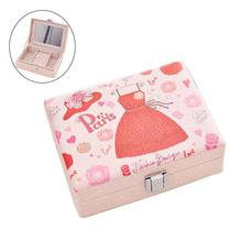 Jewel Storage Case with Lock & Mirror Lockable Portable Travel Wedding Princess Necklace Jewelry Storage Box Organizer