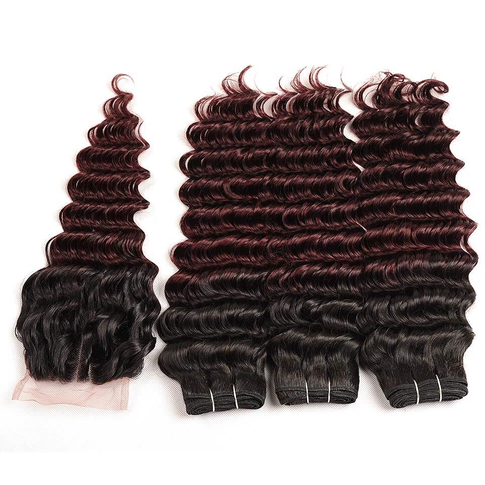 Pinshair Pre-Colored T1BBurg Deep Wave Hair Brazilian 3 Bundles With Closure Non-remy Human Hair Weave Bundles With Closure (75)