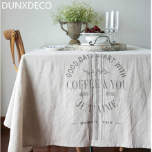 DUNXDECO Modern Nordic Simple Words Print Coffee Table Cloth Linen Cotton Table Cover Home Store Party Decoration Photo Prop