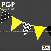 [PGP]2M,Paper Flags Garland,Banner, Kids Girls Birthday Children's Day Bumble Bee Theme Busy Bumble Batman Bee Party Decoration(China)