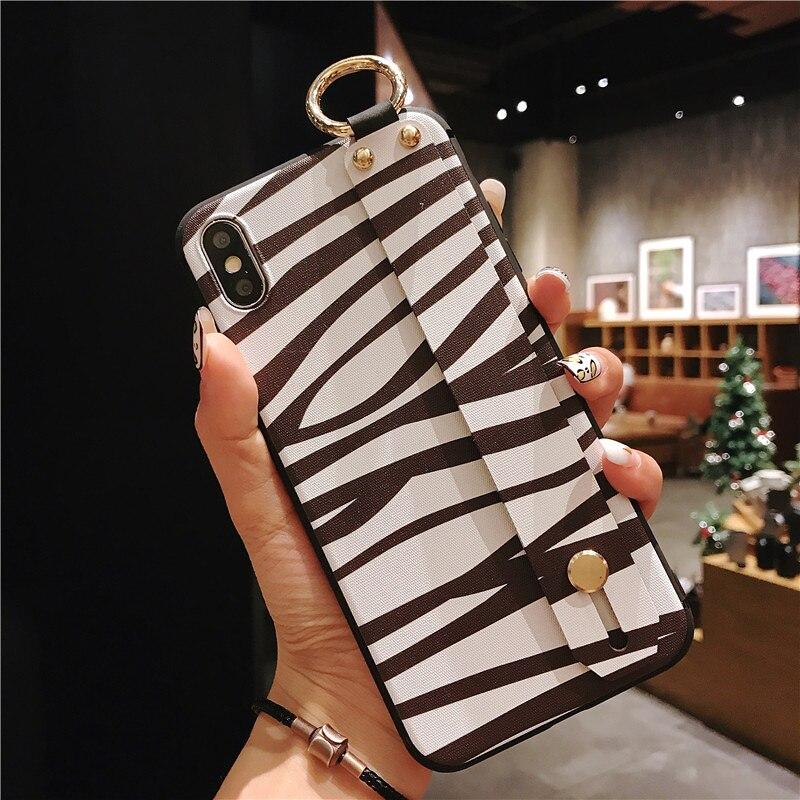10 SoCouple Wrist Strap Phone Case For iphone X Xs max XR 6 6s 7 8 plus Leopard Print Tiger Skin Zebra Pattern Soft TPU Holder Case