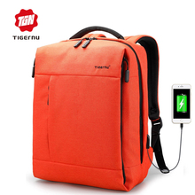 "2017 Tigernu Brand USB Charge Men Backpack Anti-theft Mochila 14-15""Notebook Backpack Waterproof Male Backpack Women school bag"