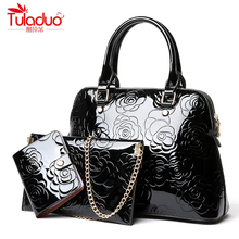 High Quality Patent Leather Women Handbags Luxury Floral 3 Sets Ladies Composite Bag Fashion Shell Bags For Women Shoulder Bags(China)