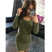 Lguc.H Women Solid Slim Black Club Party Dress Spring Sexy Bodycon Dresses Europe America Fashion Brief Dresses Long Sleeve S XL(China)
