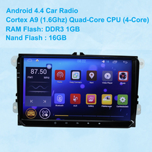 Android 4.4 Car Player 2 Din Radio Cortex A9(1.6Ghz) Quad-Core 4 Core CPU WIFI Car GPS For Volkswagen Skoda Seat VW GOLF Passt