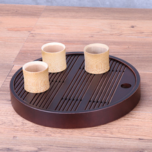 Chinese bamboo tea tray traditional round handmade kungfu tea set high quality tea table for drinking tea teapot and cups holder(China)