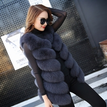 Autumn Winter Women Real Fox Fur Vest Female Genuine Fox Fur Coat Leather Jacket Warm Lady Gilet Natural Fox Fur Waistcoat(China)