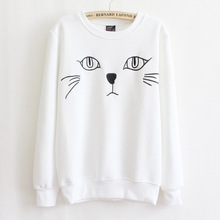 2016 autumn/winter casual sweatshirts for women high quality kitty pattern embroidery pullover sweatshirts 3 colors