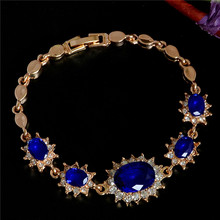 H:HYDE Amazing design jewelry Gold Color flower shape Austrian Crystal CZ Zircon elegant shiny bracelet Jewelry for gift