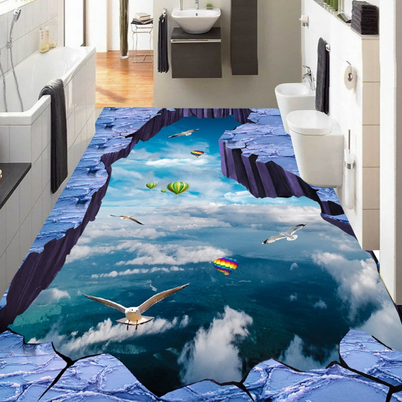 Free Shipping sky birds hot air balloon bathroom walkway 3D floor painting moisture proof thickened flooring wallpaper mural<br>