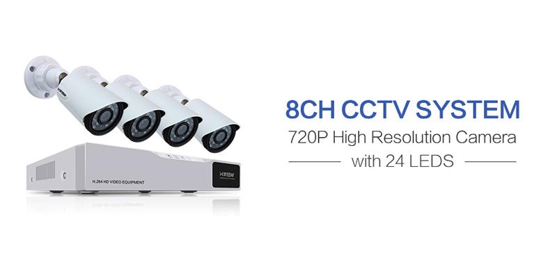 H.VIEW 8ch CCTV Surveillance Kit 4 Cameras Outdoor Surveillance Kit IR Security Camera Video Surveillance System DVR Kits (1)