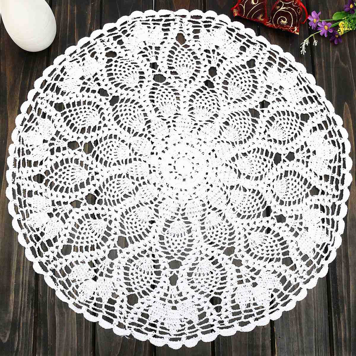 "Vintage 23"" Round Cotton White Feather Hand Crochet Doilies Wedding Event Table Decor Doily Placemat Knit TableCloth(China (Mainland))"
