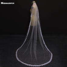 2.5 Meter Vintage Style Cathedral Wedding Veils Long Lace Edge One Layer  Wedding Dresses Veil Custom Made Bridal Veil