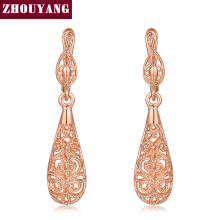 Top Quality Classic Hollowed-out Water Drop Rose Gold Color Drop Earrings Jewelry Wholesale ZYE787 ZYE788