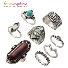 Yunkingdom New Vintage Stones Ring Set Bohemia Ethnic Rings for Women Antique Silver Color jewelry Cheap Wholesale / Retail(China)