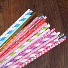 25pcs color paper straws party supply colorful mixed Paper Straw Kids Birthday Party Wedding Decorations Paper Drinking Straws(China)