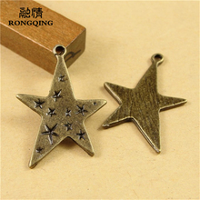 RONGQING 50Pcs/lot Antique Bronze Bling Star Charms 28*21MM Cartoon Magic Pendant DIY Jewelry Making