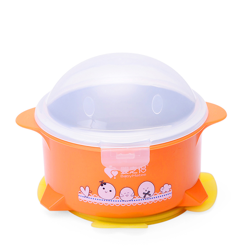 Stainless Steel Baby Food Containers Feeding Bowl Warming Plate Tarelka Suckers Baby Snack Bowl Food Buffet Dishes 60R025<br>