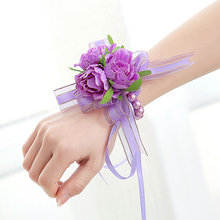 1pc Handcrafted Wrist Corsage Bracelet Artificial Silk Rose Flowers For Wedding Hand Flower Bouquet For Bride Event Supplies
