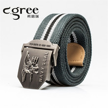2017 Eagle Belt Men Canvas Leather High Quality Strap Men's Wide Army Belt Man Automatic Buckle Cwboy Striped Belts(China)