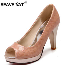 REAVE CAT New Summer style Ladies shoes Woman high heel shoes Pump Peep toe Snake Platforms Black Silver Pink Fashion Party Sexy(China)