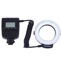 RF550 Macro LED Ring Flash with LCD Display Power Control for Canon Nikon DSLR Cameras With 48 pieces LED Use 4 x AA batteries