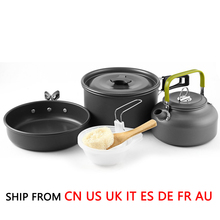 (Ship From 8 Countries) OUTAD 9pcs Outdoor Camping Cookware Set Camping Kettle Pot Kit for 2-3 with Gift Box Drop Shipping(China)