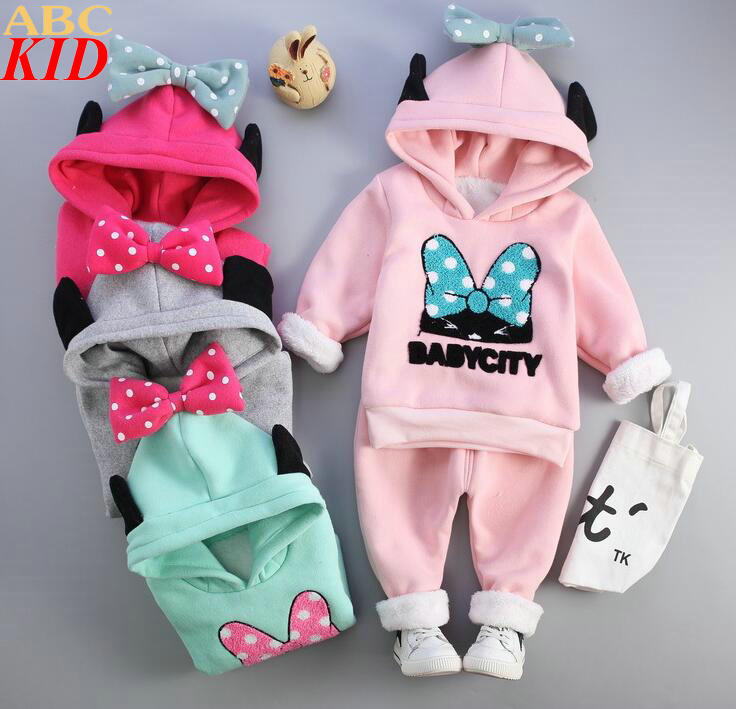 Winter New Baby Girls Minnie Cartoon 2PCS Warm Clothing Sets Fleece Thick Hoodies+Long pant Bow Lovely Girls Tracksuits KC147<br><br>Aliexpress