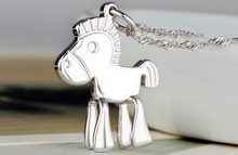 17*15mm New Fashion Female Small Horse Pendant Accessories Silver Color Charm Jewelry Without Chain(China)
