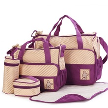 5Pcs/Set Fashion Diaper Bag Mummy Stroller Bag Large Capacity Handbag Nappy Changing Pad for Baby Care with 8 Colors(China)