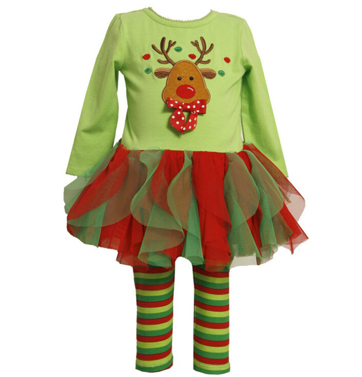2017 childrens Christmas clothing set baby girls Cute Deer long sleeve t-shirt /dress+pants 2pcs set kids Halloween Suits outfit(China)