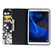 Funny Desgin PU Leather Back Cover Case Protective Shell For Samsung Galaxy TAB A T580 Clamshell Wallet Phone Case + Card Holder