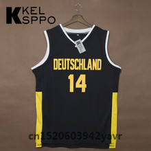 Custom Adult Throwback Basketball Jerseys #14 Dirk Nowitzki Team Deutschland Germany Embroidered Basketball Jersey Size XXS-6XL