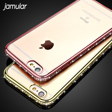 JAMULAR Bling Rhinestone Case For iphone X 7 6s 5S SE Ultra Thin Clear Soft Crystal Diamond Cover For iPhone 6 6S 7 8 Plus Case(China)