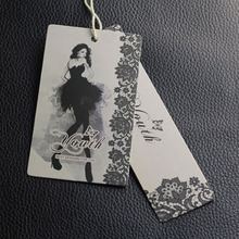 Free shipping wholesale garment accessories black art paper clothing hang tags(China)