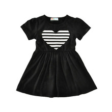 2-6Y Retail Dresses For Girls Black Striped Kids Dress For Baby Summer Girl Clothes Princess Party Clothing Sweet Heart Dresses